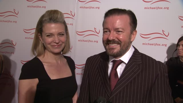 ricky gervais explains why michael j fox is an inspiration describes what can be expected of his performance tonight at the 2011 a funny thing... - michael j. fox stock videos and b-roll footage