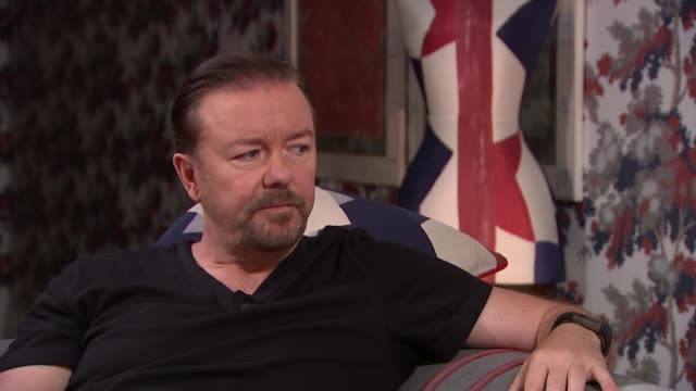 ricky gervais interview; england: london: int ricky gervais interview sot - the office came out of me watching docu-soaps in 1990s/ fame different... - ricky gervais stock videos & royalty-free footage