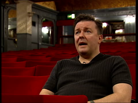 ricky gervais interview; itn england: london: west end: int ricky gervais interview sot - theatre less scary than i thought it would be/ looking... - ricky gervais stock videos & royalty-free footage
