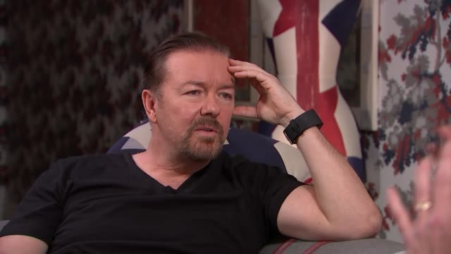 ricky gervais interview; ricky gervais interview sot - on character of david brent speaking to men - on people not knowing whether the office and... - ricky gervais stock videos & royalty-free footage