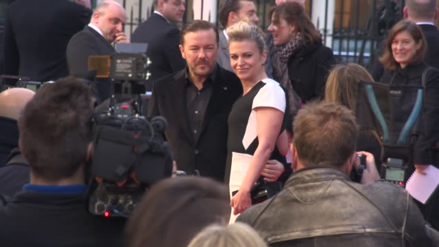 Ricky Gervais Jane Fallon at 'The Muppets Most Wanted' VIP Gala Screening at The Curzon Mayfair on March 24 2014 in London England