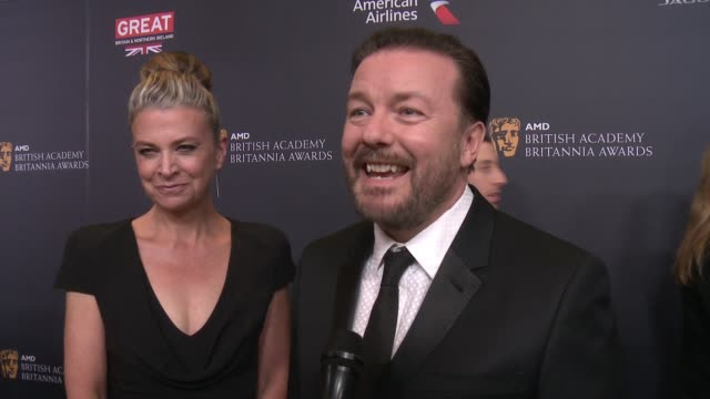 ricky gervais on being honored tonight with the charlie chaplin britannia for comedy at 2016 amd british academy britannia awards presented by jaguar... - ricky gervais stock videos & royalty-free footage