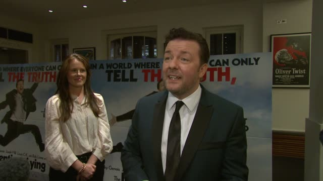 ricky gervais on how important lies are in the world, as there would be no art, flattery, or fiction, on truth in the film, on his role as director... - ricky gervais stock videos & royalty-free footage