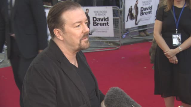ricky gervais on the controversy of his character of david brent, sending david bowie a recording, not making 'the office' again, moving on at 'david... - ricky gervais stock videos & royalty-free footage