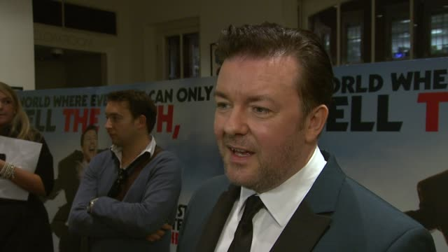 ricky gervais on who he would like to work with in the future, on being intimidated by working with big stars, at the invention of lying bafta... - ricky gervais stock videos & royalty-free footage