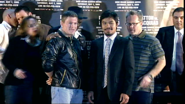 Ricky Hatton and Manny Pacquaio press conference Promoter speaking SOT Hatton and Pacquaio posing for photocall