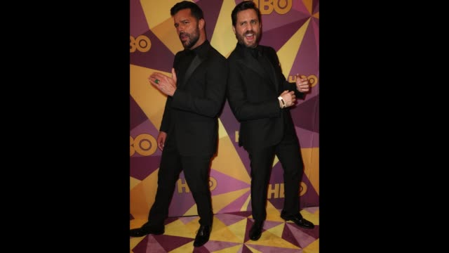 ricky martin and jwan yosef attend hbo's official golden globe awards after party at circa 55 restaurant on january 7 2018 in los angeles california - ricky martin stock videos and b-roll footage