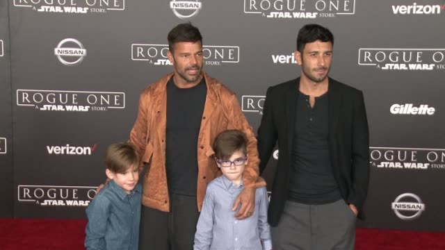 Ricky Martin Carlos Gonzalez Abella Valentino Martin and Matteo Martin at Rogue One A Star Wars Story World Premiere at the Pantages Theatre on...
