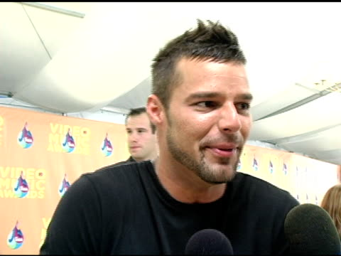 ricky martin on miami and who he is looking forward to seeing perform tonight at the 2005 mtv video music awards arrivals at american airlines arena... - ricky martin stock videos and b-roll footage