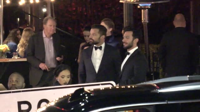 ricky martin outside the vanity fair oscar party in beverly hills in celebrity sightings in los angeles, - vanity fair oscar party stock videos & royalty-free footage