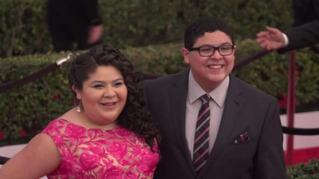 rico rodriguez and raini rodriguez at the 22nd annual screen actors guild awards - arrivals at the shrine auditorium on january 30, 2016 in los... - shrine auditorium stock videos & royalty-free footage