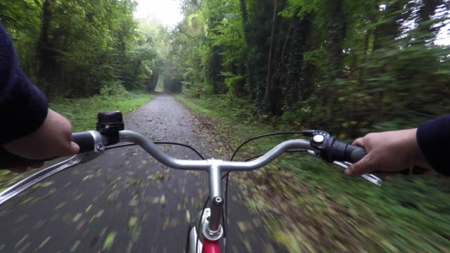 pov of ride a bike - handlebar stock videos & royalty-free footage