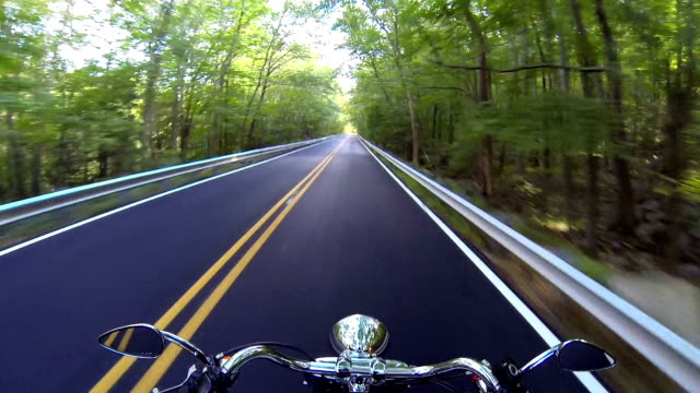 Ride a fast moving motorcycle through the country side