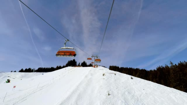 pov, ride with the chairlift in winter, bolsterlang, allgau, bavaria, germany - overhead cable car stock videos & royalty-free footage