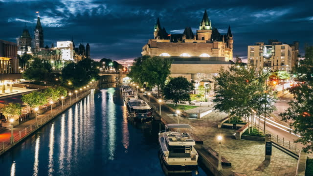 rideau canal architecture in ottawa - ottawa stock videos & royalty-free footage