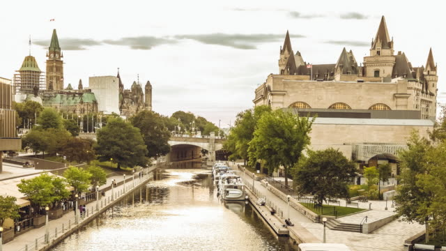rideau canal architecture in ottawa - rideau canal stock videos & royalty-free footage