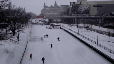 rideau canal ice skating rink in winter, ottawa - canal stock videos & royalty-free footage
