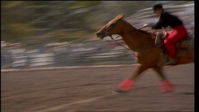 rider in black and red outfit riding horse in rodeo - カウボーイハット点の映像素材/bロール