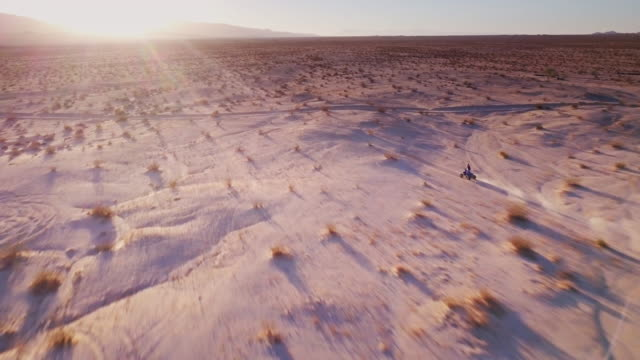 atv rider in desert - aerial view - quadbike stock videos & royalty-free footage