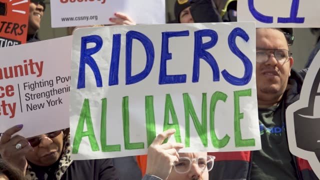 riders alliance and community service society of new york hosted a rally on the steps of new york city hall on wednesday april 11. activists and... - new year card stock videos & royalty-free footage