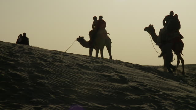 riders on camels are silhouetted against the sky as they move across the desert. - camel train stock videos & royalty-free footage