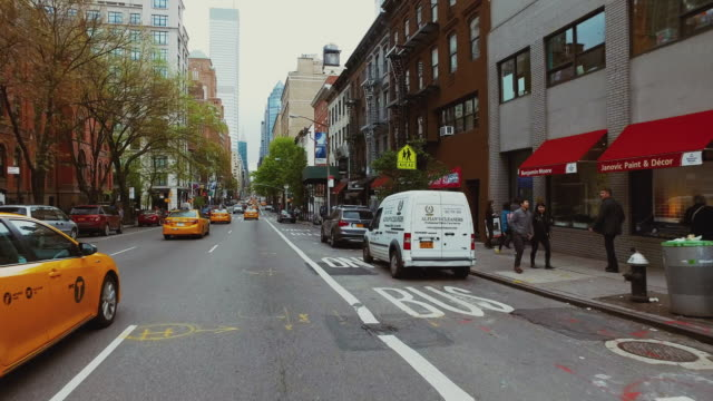 riding a bicycle pov in new york city - car point of view stock videos & royalty-free footage