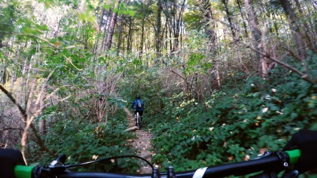 vídeos y material grabado en eventos de stock de montar un rápido camino en el bosque - miembro humano