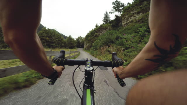 pov riding a road racing bicycle in the forest - val di fassa stock videos and b-roll footage