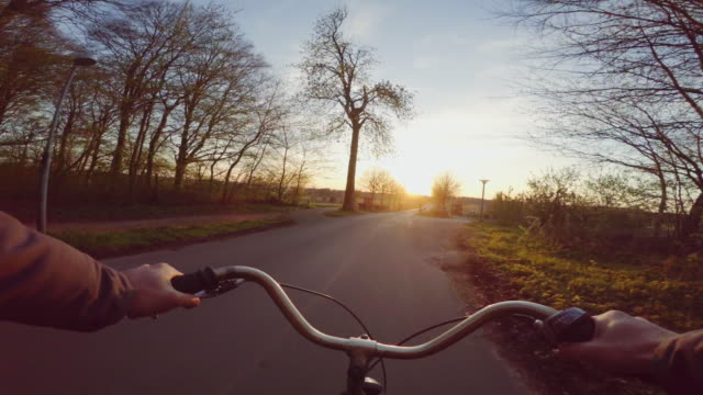 riding bicycle outdoor pov - handlebar stock videos & royalty-free footage
