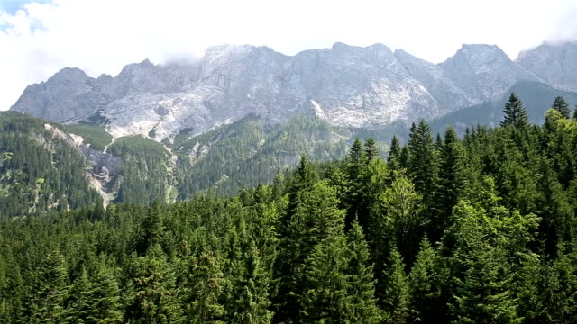 riding cable car at zugspitze alpine alps mountain range landscape top of germany - garmisch partenkirchen stock videos & royalty-free footage