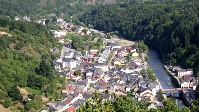 Riding Cable car Gondola lift with Vianden cityscape Luxembourg BeNeLux