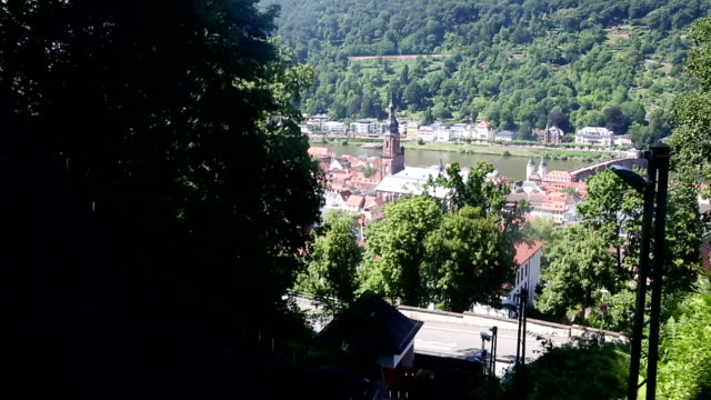 vídeos de stock e filmes b-roll de riding cable car in heidelberg cityscape at summer, germany - hd format