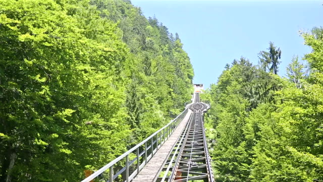 riding cable car to viewpoint of hallstatt village and lake, austria - world championship stock videos and b-roll footage