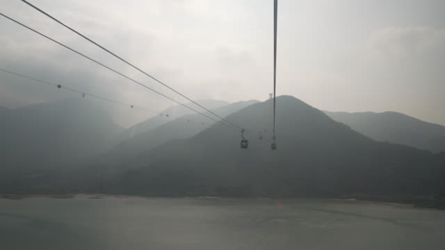 stockvideo's en b-roll-footage met riding cable cars towards mountains, china - kabelwagen