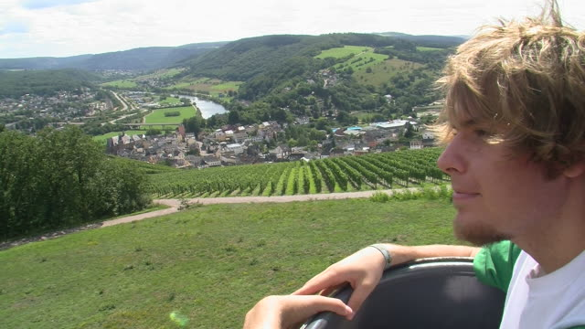 ms ts riding chairlift to warsberg / saarburg, saar-valley, rhineland-palatinate, germany - ski lift point of view stock videos & royalty-free footage
