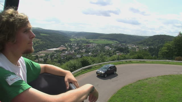 ms pan riding chairlift to warsberg / saarburg, saar-valley, rhineland-palatinate, germany - ski lift point of view stock videos & royalty-free footage