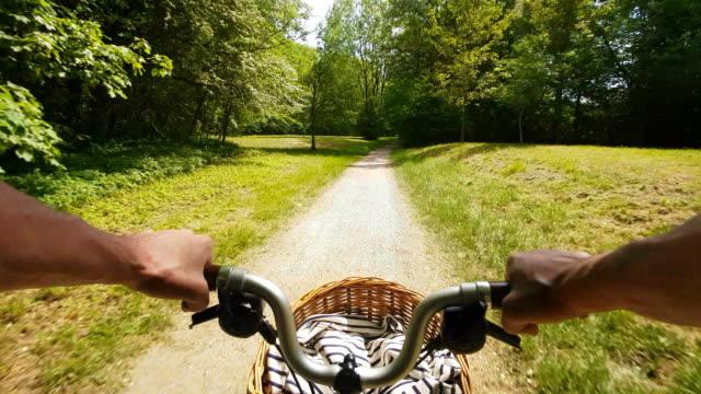 riding folding bicycle on sunny day - ミュンヘン エングリッシャーガルテン点の映像素材/bロール