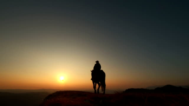 hd: riding horse on the ridge at sunset - vilda västern bildbanksvideor och videomaterial från bakom kulisserna