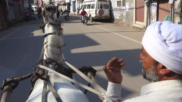 riding in horse-drawn carriage through amritsar - punjab india stock videos and b-roll footage