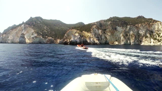 Riding inflatable boat rib