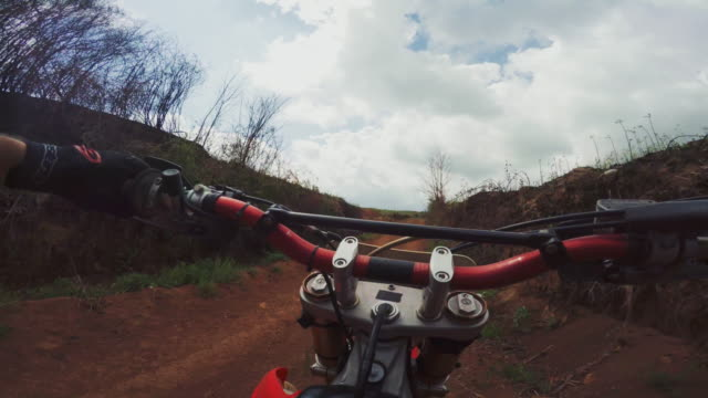 POV riding motocross enduro bike outdoor