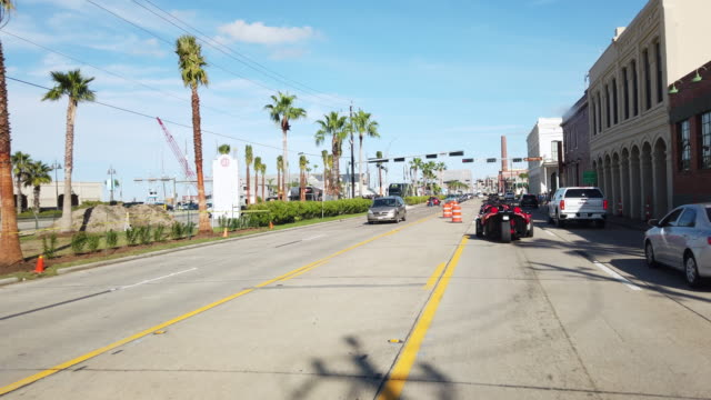 riding motorcycle to port galveston - southwest usa stock-videos und b-roll-filmmaterial