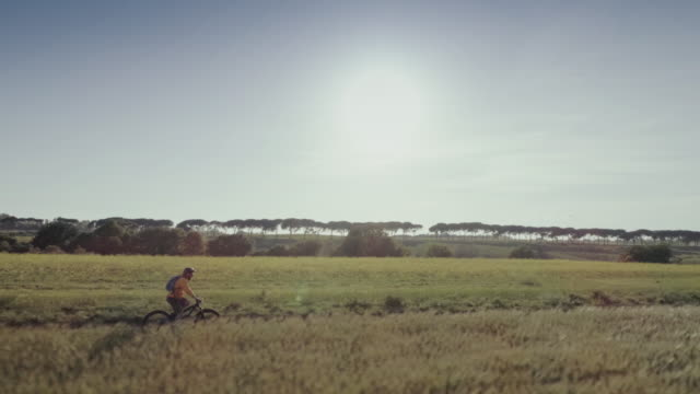 Riding mountainbike bicycle: drone aerial view