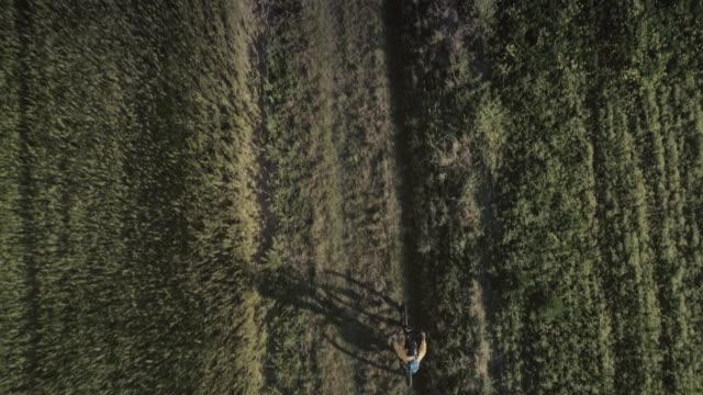vídeos de stock e filmes b-roll de riding mountainbike bicycle: drone aerial view - terra