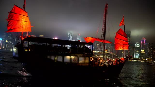 Riding Red Hong Kong Junk Boat at Night