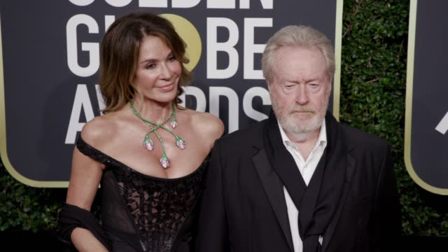 Ridley Scott and Giannina Facio at the 75th Annual Golden Globe Awards at The Beverly Hilton Hotel on January 07 2018 in Beverly Hills California
