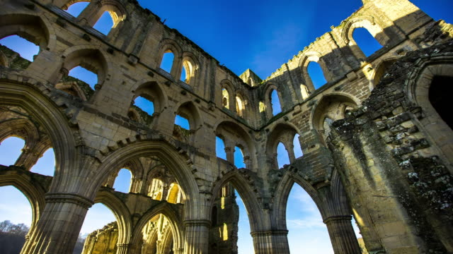 t/l rievaulx abbey ruin - circa 11th century stock videos and b-roll footage
