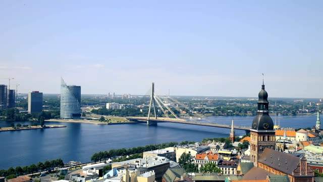 riga old town, beautiful view over the city - spire stock videos & royalty-free footage
