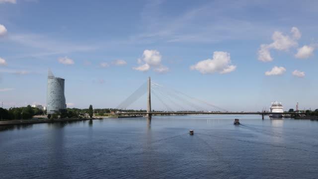 Riga, Time Lapse of of ships in the Daugava river.