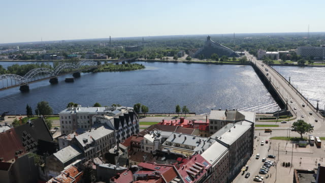 Riga, view of the city, and the transportation on the Daugava river.
